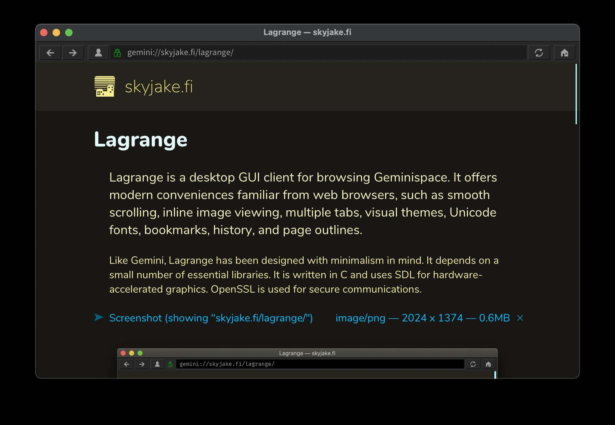 Screenshot of Lagrange browser on a Mac